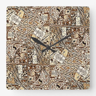 CHOCOLATE BROWN ABSTRACT CLOCK