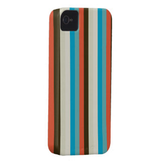 chocolate brown and aqua blue stripes iPhone 4 Case-Mate case