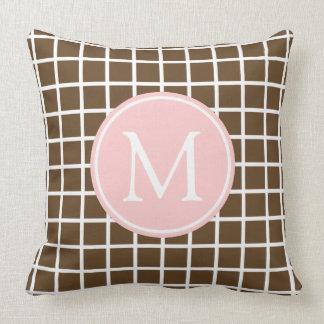 Chocolate Brown and Baby Pink Lattice Monogram Throw Pillow