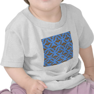 Chocolate Brown and Blue Damask Tshirts