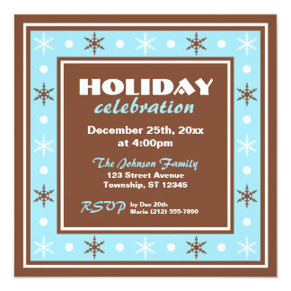 Chocolate Brown and Blue Holiday Celebration 5.25x5.25 Square Paper Invitation Card