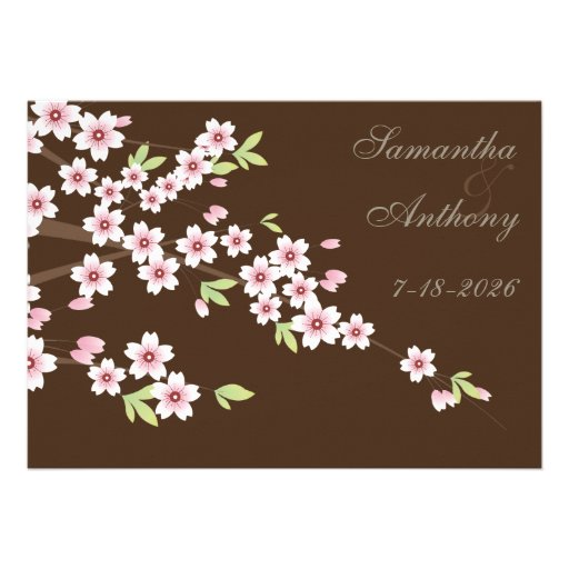 Chocolate Brown and Cherry Blossom Wedding Personalized Invite