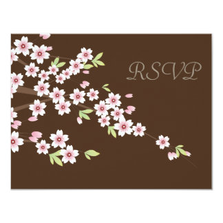 Chocolate Brown and Cherry Blossom Wedding RSVP Card