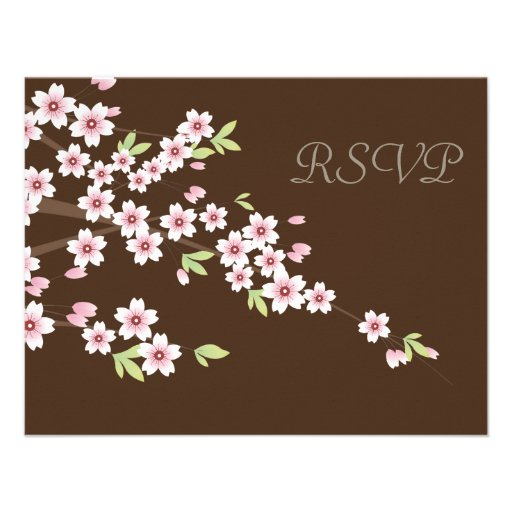 Chocolate Brown and Cherry Blossom Wedding RSVP Announcement