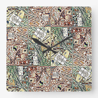 CHOCOLATE BROWN AND GREEN ABSTRACT CLOCK 2