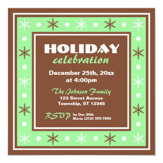 Chocolate Brown and Green Holiday Celebration 5.25x5.25 Square Paper Invitation Card