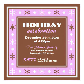 Chocolate Brown and Purple Holiday Celebration 5.25x5.25 Square Paper Invitation Card