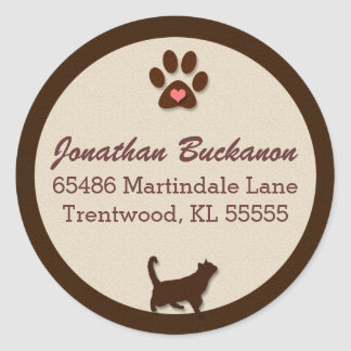 Chocolate Brown and Tan Cat Themed Round Sticker