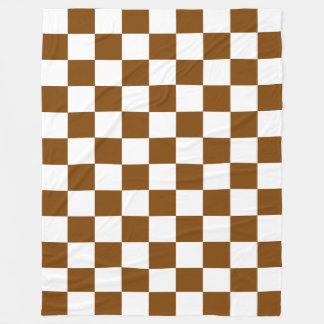 Chocolate Brown and White Checkerboard Squares Fleece Blanket