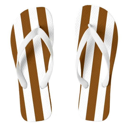 Chocolate Brown and White Stripes Flip Flops