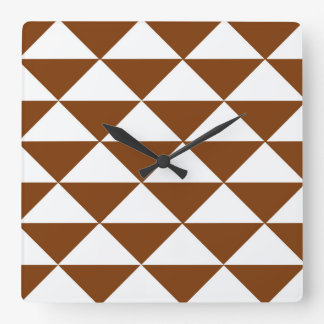 Chocolate Brown and White Triangles Wall Clocks