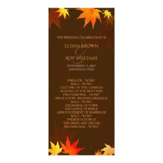 Chocolate Brown Autumn Wedding Program Rack Card