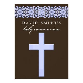 Chocolate Brown & Blue Communion Invitation