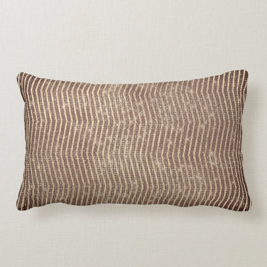 Chocolate Brown Foxier Metal Chevron Stripes Lines Lumbar Pillow