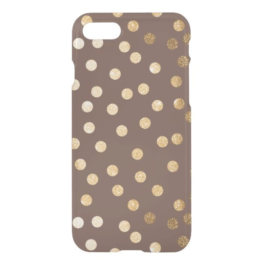 Chocolate Brown Gold Glitter Dots Clear Phone Case