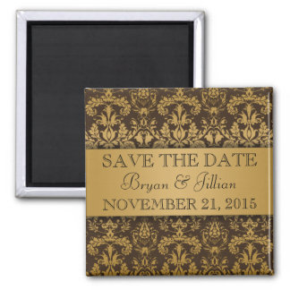 Chocolate Brown & Gold Regal Damask Save the Date Square Magnet