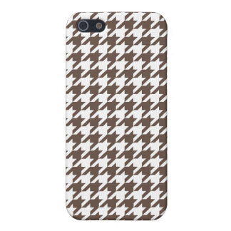 Chocolate Brown Houndstooth iPhone 5/5S Cases