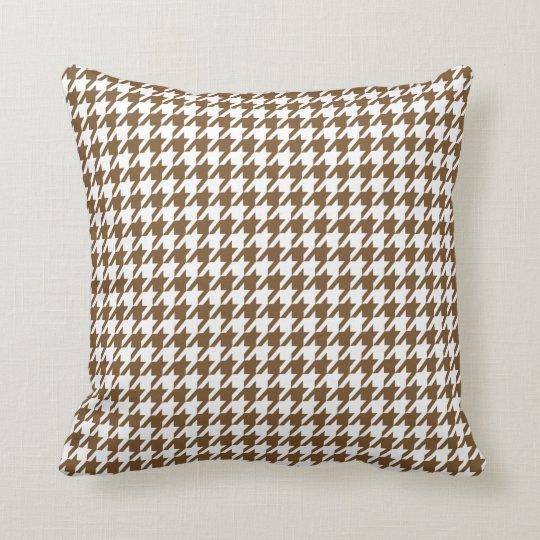 Chocolate Brown Houndstooth Throw Pillow