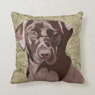 Chocolate Brown Labrador Throw Pillow