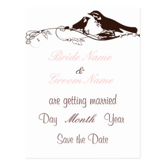 Chocolate Brown Lovebirds-Wedding Save the Date Postcard