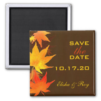 Chocolate Brown Maple Leaves Fall Save the Date Fridge Magnet