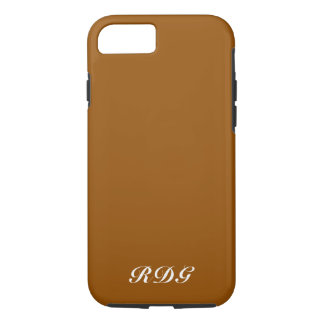 Chocolate Brown Modern Professional White Monogram iPhone 8/7 Case
