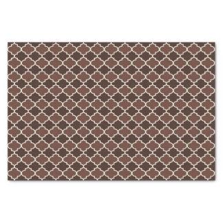 Chocolate Brown Moroccan Quatrefoil Pattern Tissue Paper