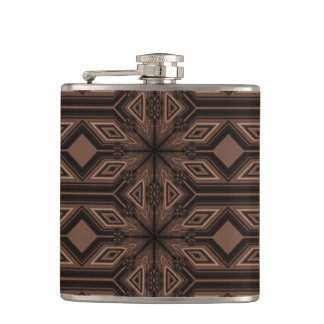 Chocolate Brown Mosaic Flask Vinyl Wrapped 6 oz.
