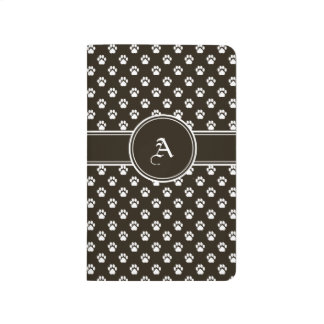 Chocolate-Brown Paw Print Notebook with Monogram Journal
