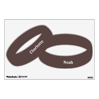 Chocolate Brown Personalized Wedding Ring Wall Sticker