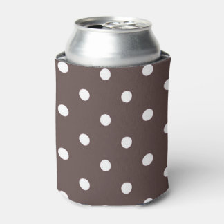 Chocolate Brown Polka Dot Can Cooler