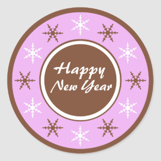 Chocolate Brown Purple Happy New Year Stickers
