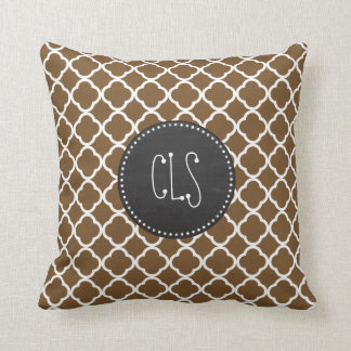 Chocolate Brown Quatrefoil; Vintage Chalkboard Throw Pillow