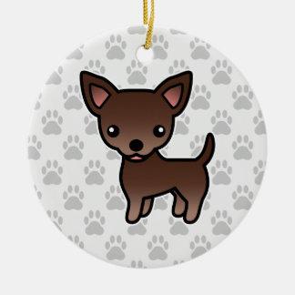 Chocolate Brown Smooth Coat Chihuahua Cartoon Dog Ceramic Ornament