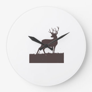 Chocolate brown stag large clock