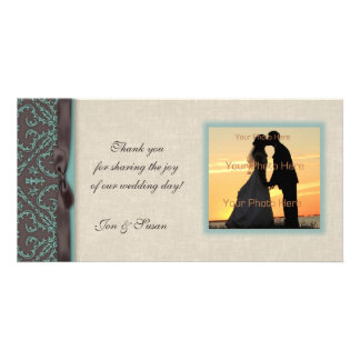 Chocolate Brown Turquoise Photo Card