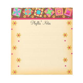 Chocolate Brown Yellow Patchwork Quilt Blocks Art Notepad