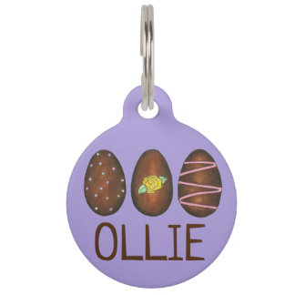 Chocolate Buttercream Easter Egg Hunt Candy Purple Pet Name Tag