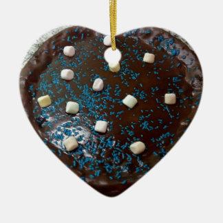 Chocolate cake ceramic heart ornament
