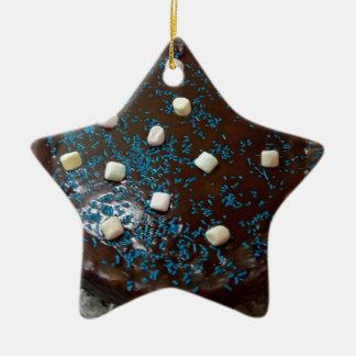 Chocolate cake ceramic star ornament