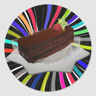 Chocolate cake classic round sticker