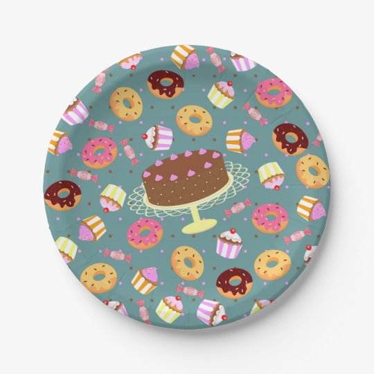 Chocolate cake, doughnuts, and candy party pattern paper plate