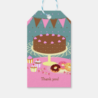 Chocolate cake girl birthday party gift tags