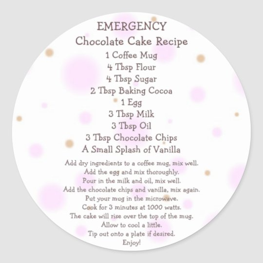 Chocolate Cake in a Mug Recipe - Stickers