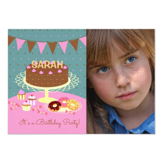 Chocolate cake photo birthday party Invitation