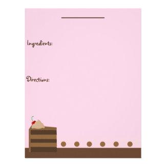 Chocolate Cake Recipe Page Letterhead