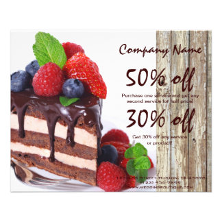 chocolate cake rustic country bakery business flyer