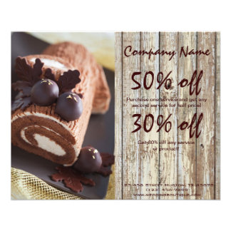 chocolate cake rustic country bakery business flyers