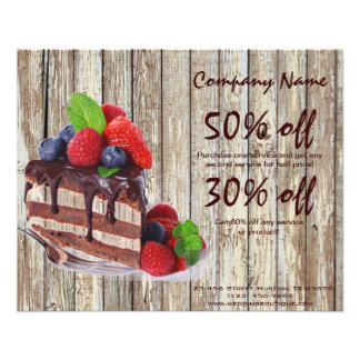 chocolate cake rustic country bakery business custom flyer
