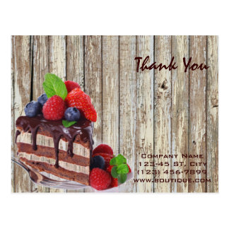 chocolate cake rustic country bakery business postcard